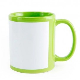01 Caneca Colorida Tarja Branca Verde Claro Sublimação
