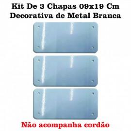 01 Kit De 3 Chapas 09x19 Cm Decorativa de Metal Branca Sublimavel