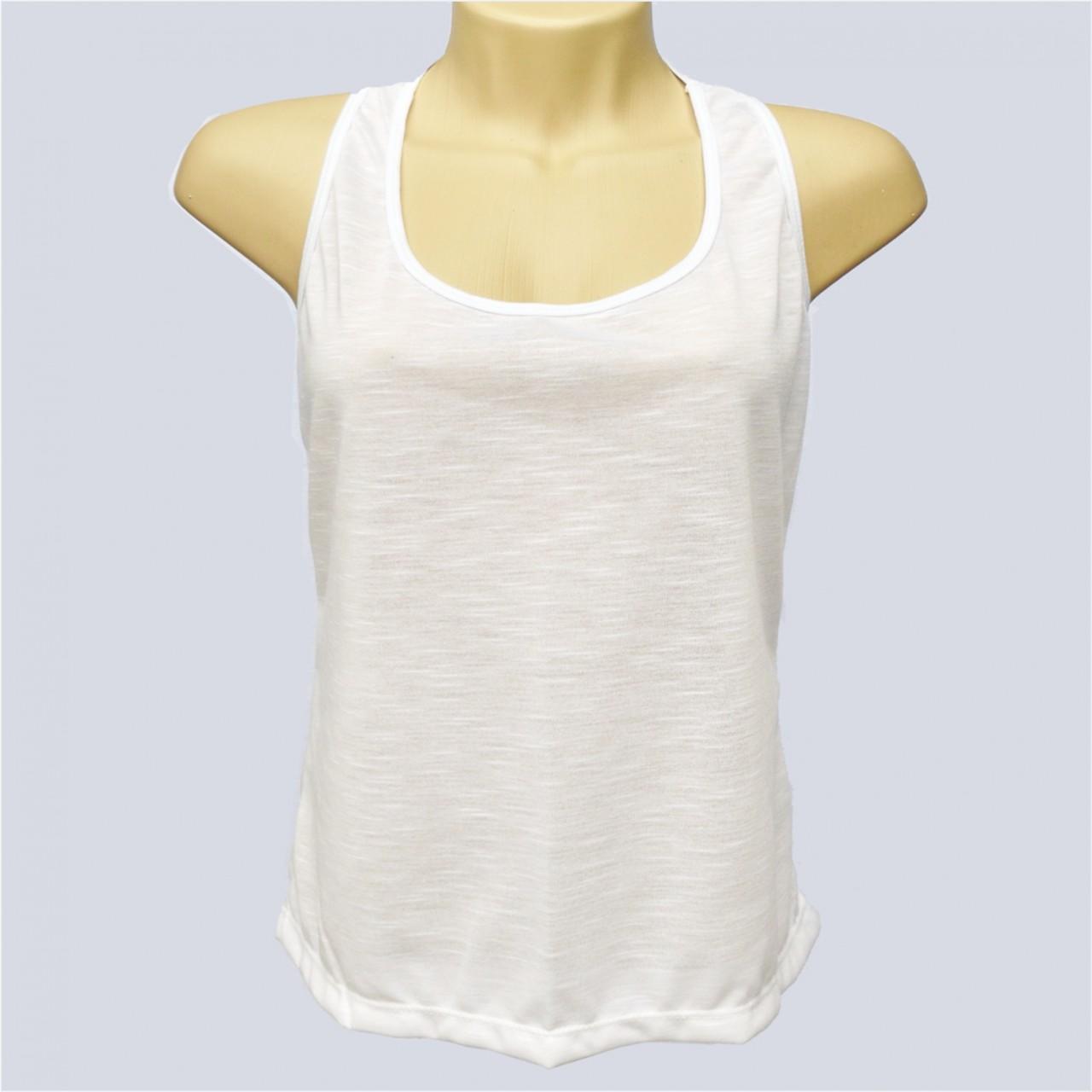 7fd16bc5d 1 Camiseta Branca Feminina Regata Nadador Sublimação - Sublimaticos