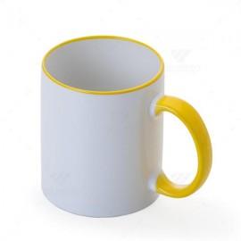 01 Caneca Cerâmica com Borda e Alça Colorida Amarela