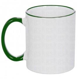01 Caneca Cerâmica com Borda e Alça Colorida Verde