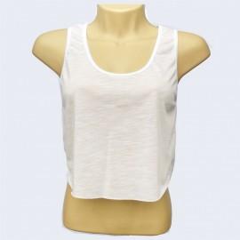 1 Camiseta Branca Feminina Cropped Regata Sublimaç