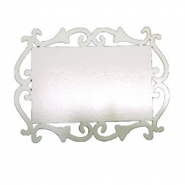 01 Arabesco  Retangular MDF 7,5 x 10 cm 3mm Branco Brilho