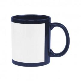 01 Caneca Coloridas Tarja Branca Azul Escuro Sublimável