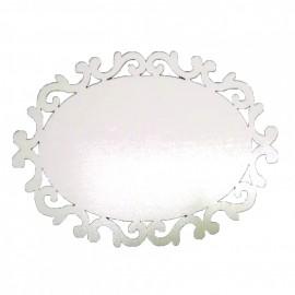 01 Arabesco  Oval MDF 7,5 x 10 cm 3mm Branco Brilho