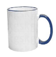 01 Caneca Cerâmica com Borda e Alça Colorida Azul