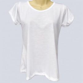 1 Camiseta tipo Batinha Branca Poliéster Sublimaçã