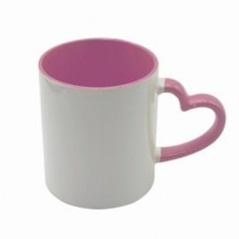 1 Caneca Cerâmica Alça Coração rosa